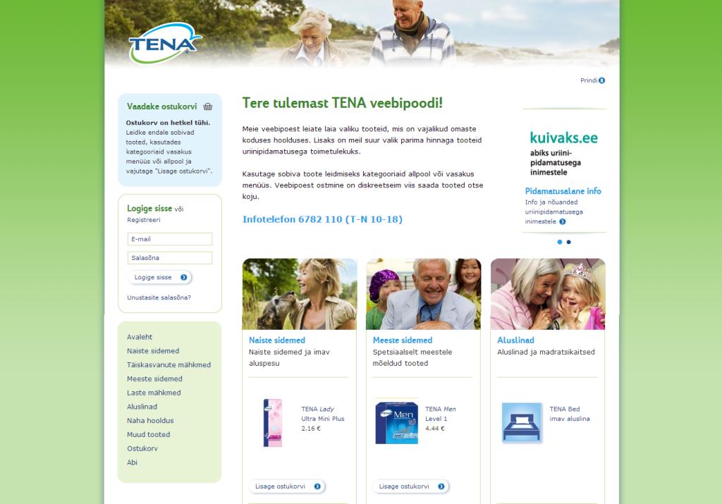 TENA avab veebipoe – osta diskreetselt ja soodsalt