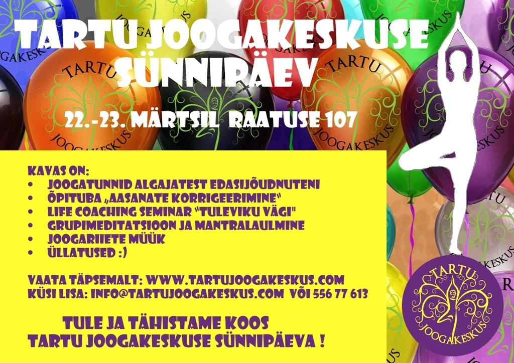 Tartu Joogakeskus kutsub sünnipäevale