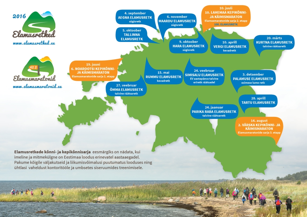 70 KORDA ÜMBER EESTI! Elamusretkede 2016. aasta eesmärk: 70 korda ümber Eesti