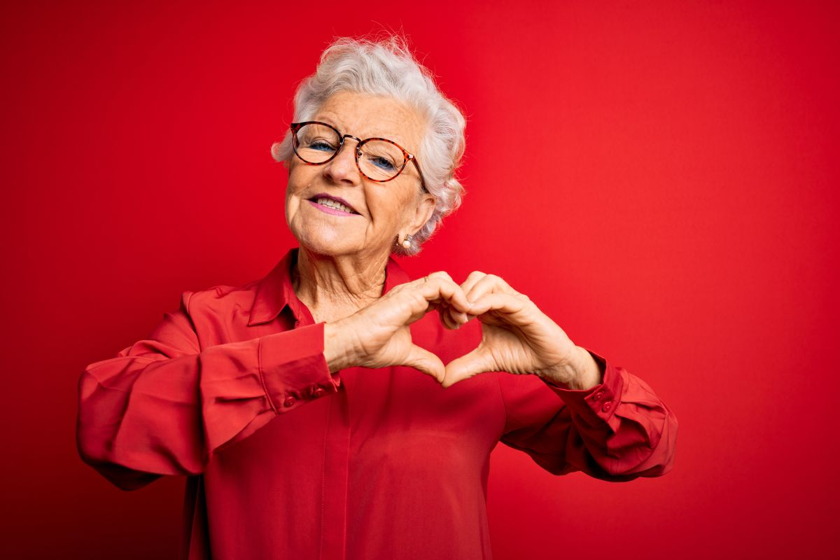 Senior,Beautiful,Grey-haired,Woman,Wearing,Casual,Shirt,And,Glasses,Over